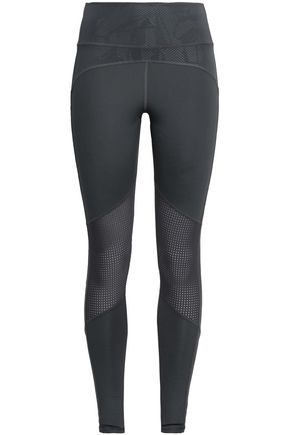 ADIDAS Mesh-paneled stretch-jersey leggings