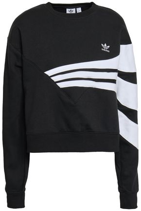 ADIDAS ORIGINALS Two-tone cotton-blend fleece sweatshirt