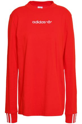 ADIDAS ORIGINALS Grosgrain-trimmed embroidered cotton-jersey top