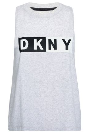 DKNY Mélange printed stretch cotton and modal-blend jersey tank
