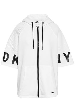 DKNY Mesh-paneled printed French cotton-blend terry hooded jacket