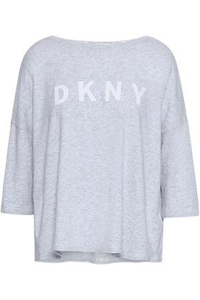 DKNY Mélange stretch cotton and modal-blend top