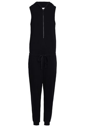 DKNY French cotton-blend terry hooded jumpsuit