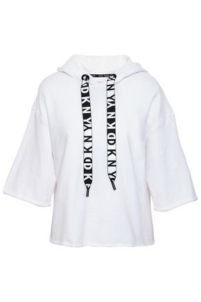 DKNY Cropped cotton-blend hooded top