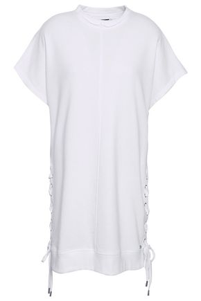 DKNY Lace-up printed French cotton-blend terry top