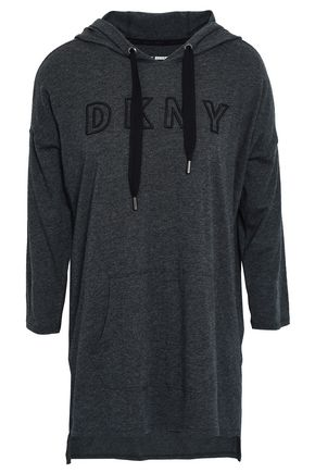 DKNY Embroidered mélange stretch cotton and modal-blend hooded sweatshirt