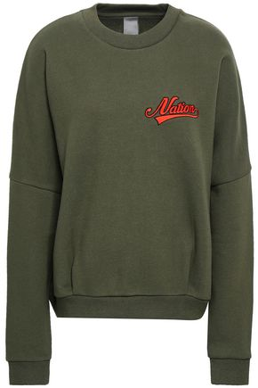 P.E NATION Embroidered cotton-blend fleece sweatshirt