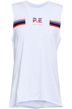 P.E NATION Mesh-paneled printed cotton-jersey tank