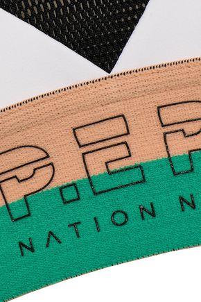P.E NATION Mesh and monogram-trimmed stretch sports bra