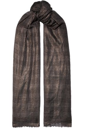 BRUNELLO CUCINELLI Frayed metallic Prince of Wales checked gauze scarf