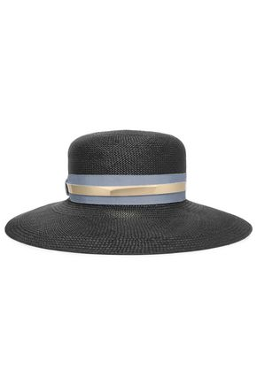 LANVIN Leather-trimmed straw sunhat