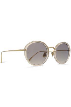 LINDA FARROW Round-frame acetate and gold-tone sunglasses