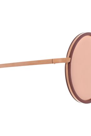 LINDA FARROW Round-frame rose gold-tone mirrored sunglasses