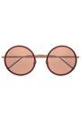 LINDA FARROW Round-frame rose gold-tone mirrored sunglasses