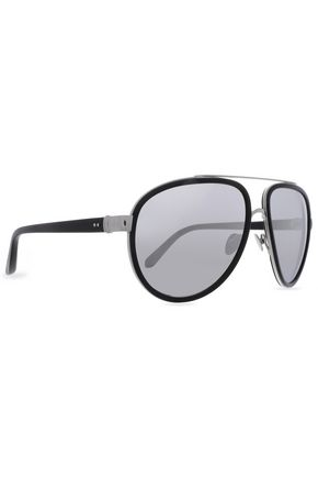 LINDA FARROW Aviator-style silver-tone and acetate sunglasses
