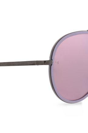 LINDA FARROW Aviator-style gunmetal-tone and acetate sunglasses