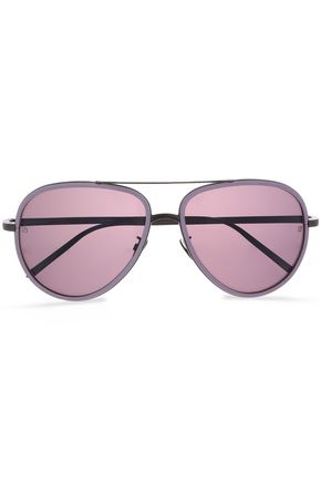 LINDA FARROW Aviator-style gunmetal-tone and acetate sunglasses