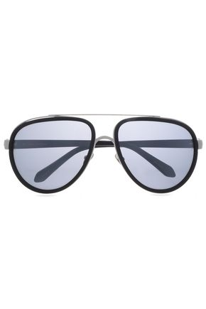 LINDA FARROW Aviator-style acetate sunglasses