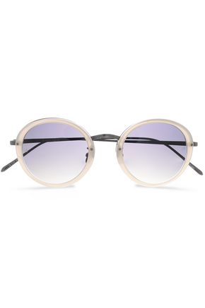 LINDA FARROW Round-frame gunmetal-tone and acetate sunglasses