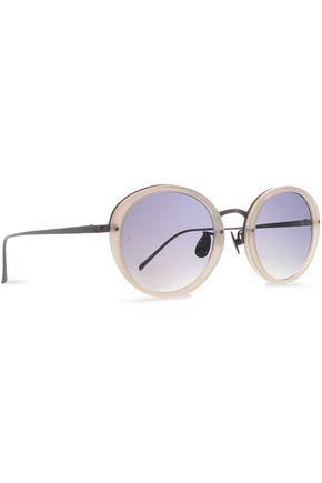 LINDA FARROW Round-frame gunmetal-tone and acetate sunglasses