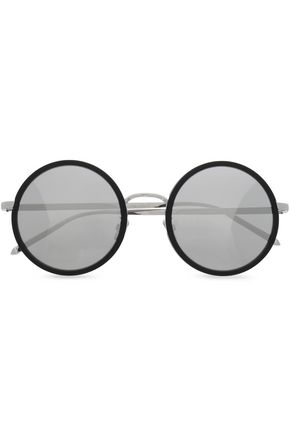 LINDA FARROW Round-frame silver-tone mirrored sunglasses