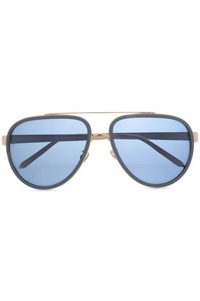 LINDA FARROW Aviator-style acetate and gold-tone mirrored sunglasses