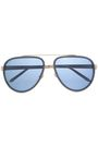 LINDA FARROW Aviator-style acetate and gold-tone mirrored sunglasses