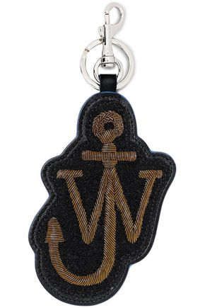J.W.ANDERSON Embroidered brushed-felt and leather keychain