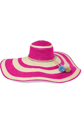 SOPHIE ANDERSON Pompom-embellished striped straw sunhat
