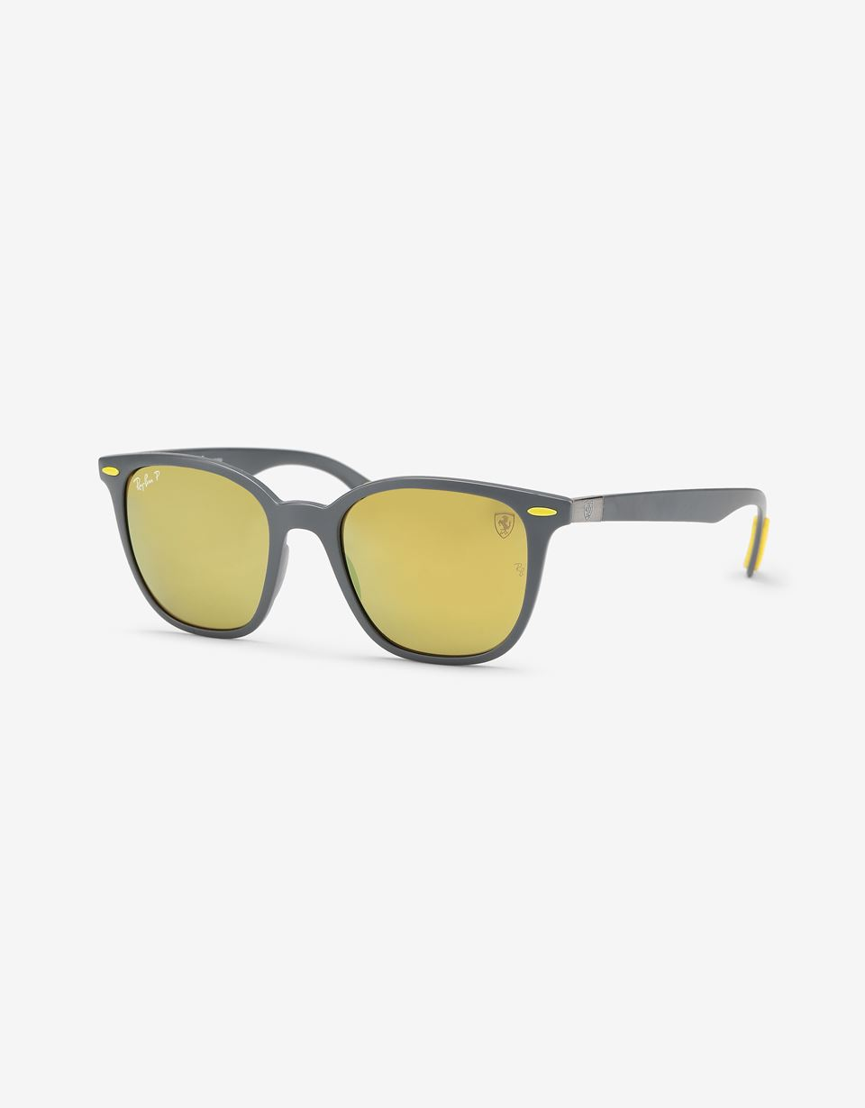 Scuderia Ferrari Online Store - Matte gray Ray-Ban x Scuderia Ferrari glasses with polarized lenses 0RB4297M - Sunglasses