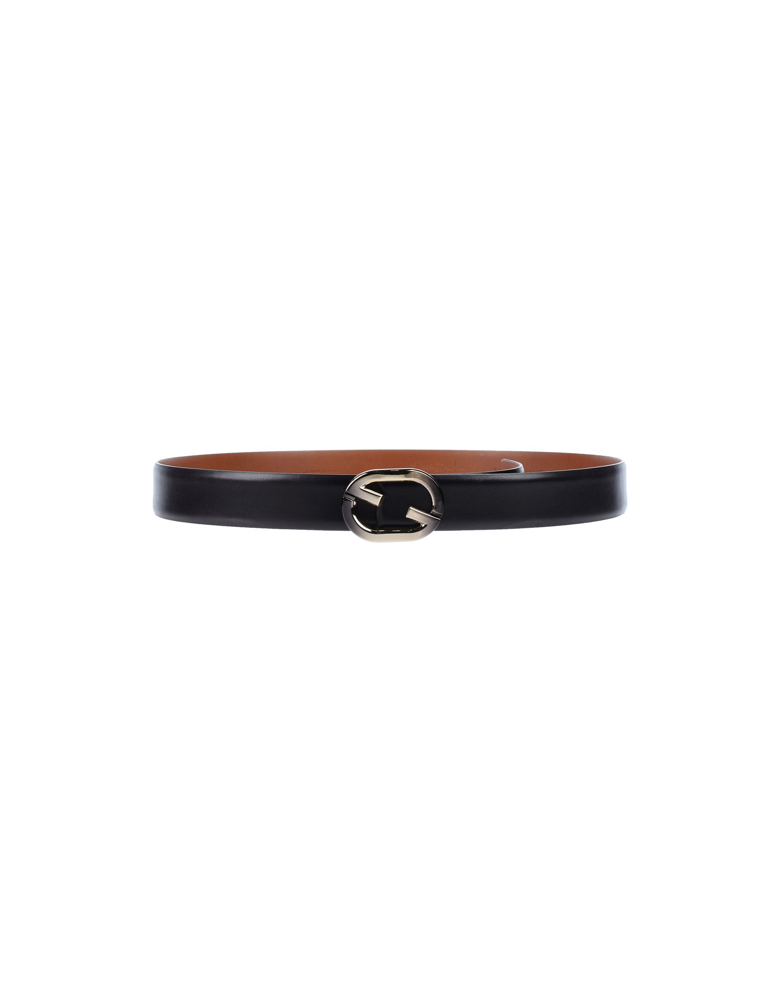 SANTONI Belts. leather, no appliqués, solid color, velcro closure, contains non-textile parts of animal origin. Soft Leather