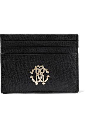 ROBERTO CAVALLI Logo-embellished textured-leather cardholder