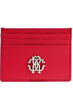 ROBERTO CAVALLI Embellished textured-leather cardholder