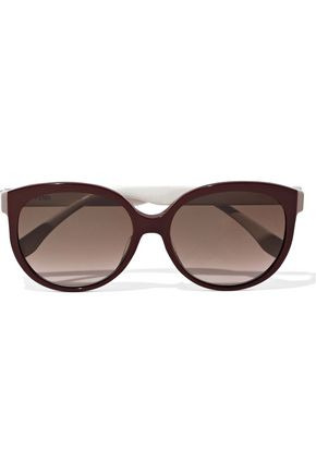 FENDI Round-frame two-tone acetate sunglasses