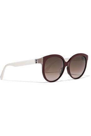 FENDI Round-frame two-tone acetate sunglasses