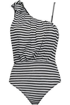 PEPPER & MAYNE ギャザー入り 装飾付き インターシャニット ボディスーツ