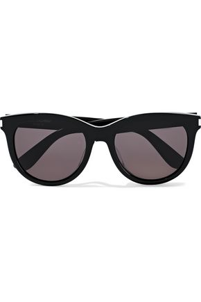SAINT LAURENT Cat-eye tortoiseshell acetate sunglasses
