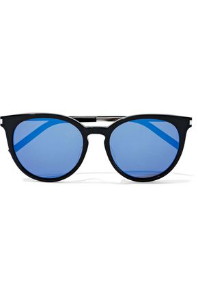 SAINT LAURENT 25/K round-frame acetate and silver-tone mirrored sunglasses
