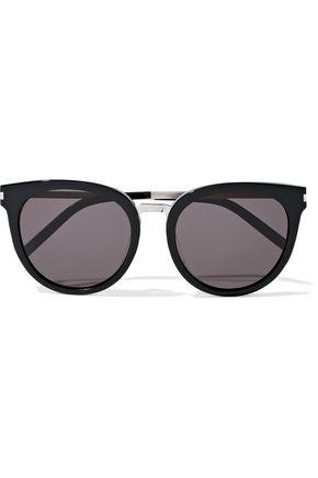 SAINT LAURENT Round-frame acetate and silver-tone sunglasses