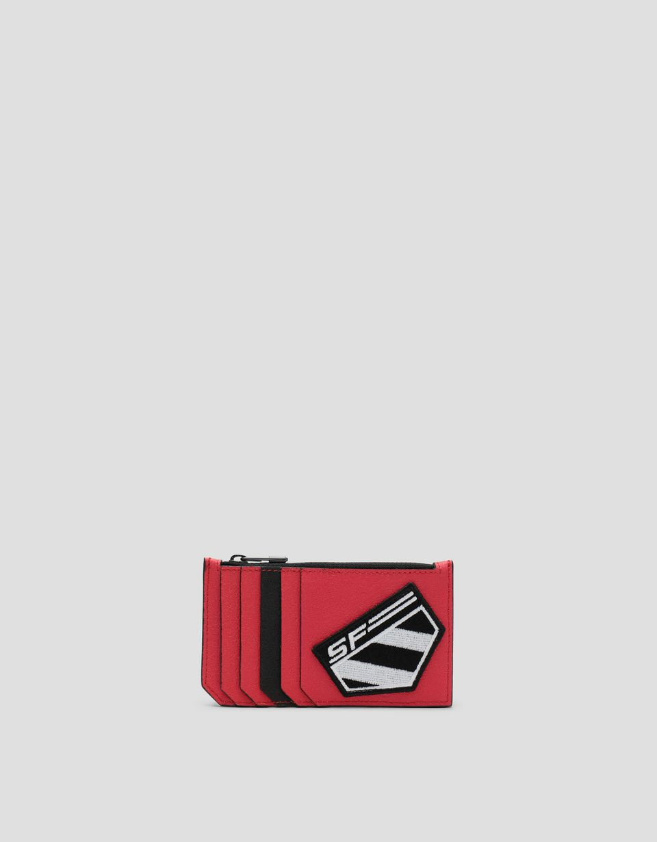 Scuderia Ferrari Online Store - Freccia Livrea credit card holder with zip Made in Italy - Credit Card Holders