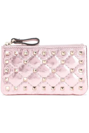 VALENTINO GARAVANI Rockstud Spike quilted metallic cracked-leather pouch