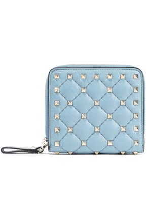 VALENTINO GARAVANI Rockstud Spike quilted textured-leather wallet