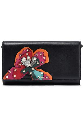 VALENTINO GARAVANI Studded appliquéd leather clutch