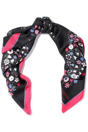 VALENTINO GARAVANI フローラルプリント シルクツイル スカーフ