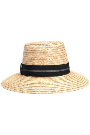 EUGENIA KIM Stevie grosgrain-trimmed woven straw hat