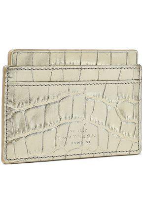 SMYTHSON Mara metallic croc-effect leather cardholder