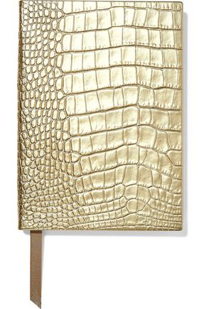 SMYTHSON Soho metallic croc-effect leather notebook
