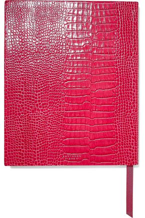 SMYTHSON Mara croc-effect leather notebook