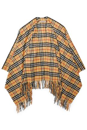 BURBERRY Fringe-trimmed checked cashmere and wool-blend wrap