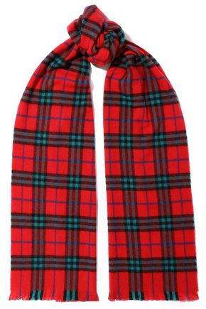 BURBERRY Frayed checked cashmere scarf